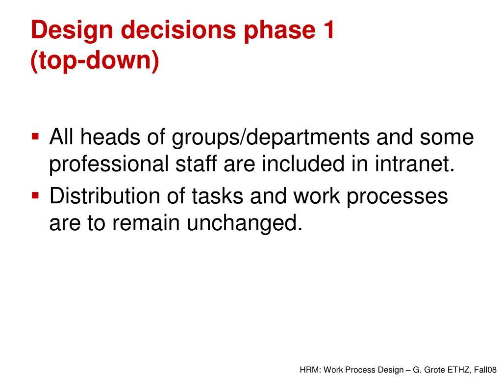 Design decisions phase 1