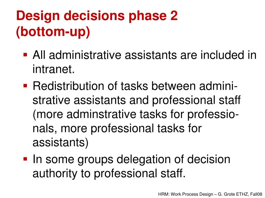 Design decisions phase 2