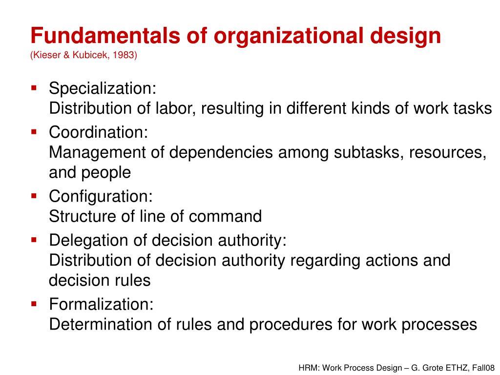 Fundamentals of organizational design