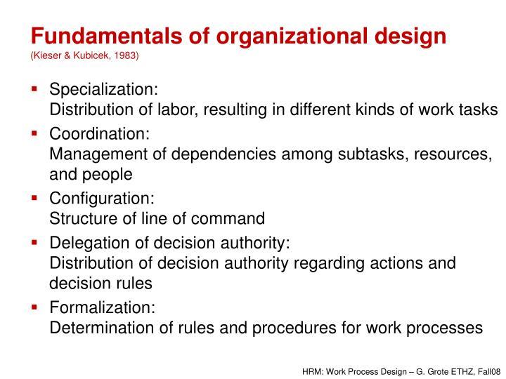 Fundamentals of organizational design kieser kubicek 1983