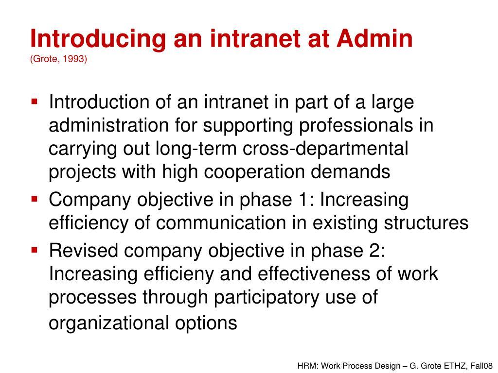 Introducing an intranet at Admin