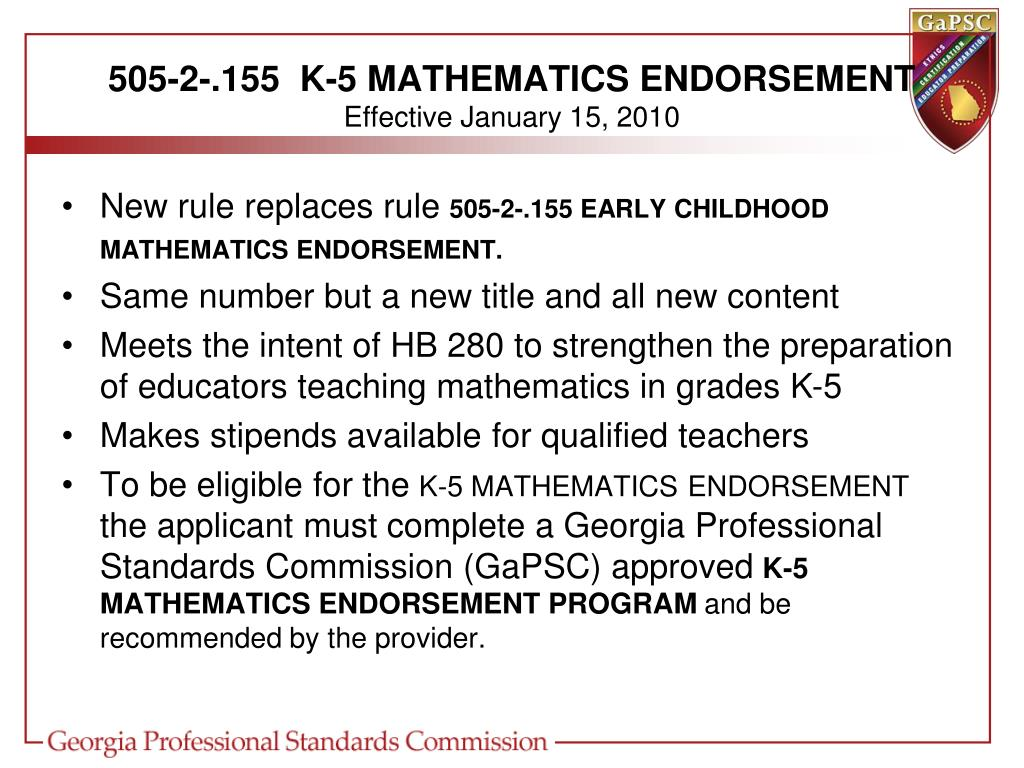 505-2-.155  K-5 MATHEMATICS ENDORSEMENT