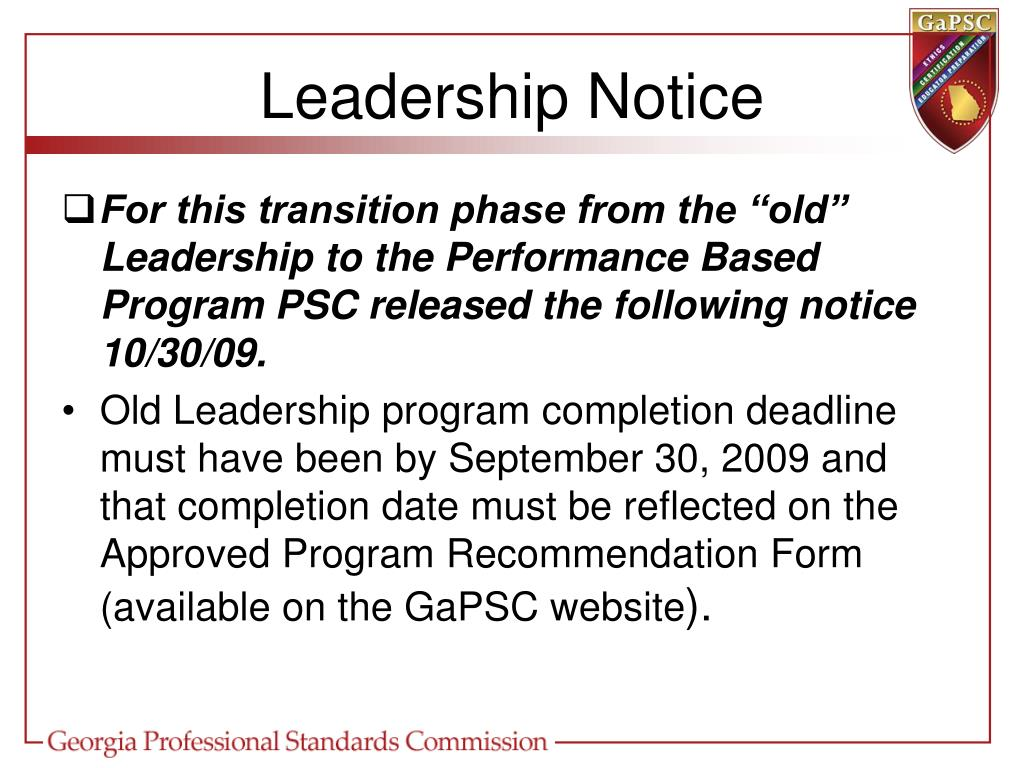 Leadership Notice
