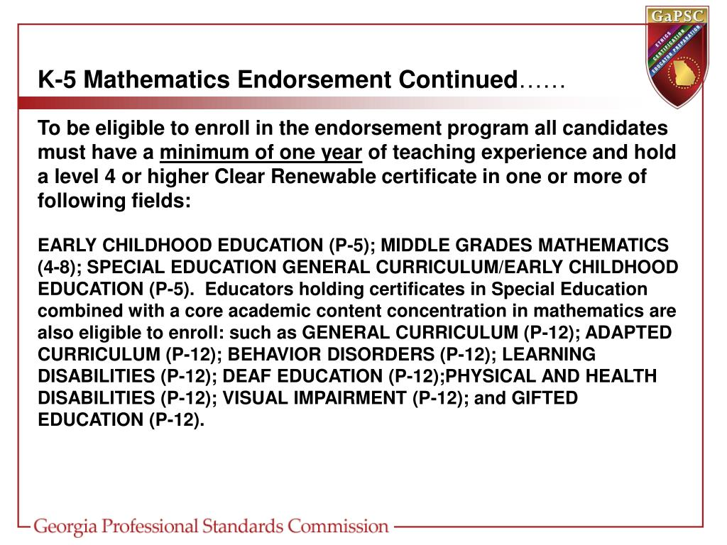 K-5 Mathematics Endorsement Continued