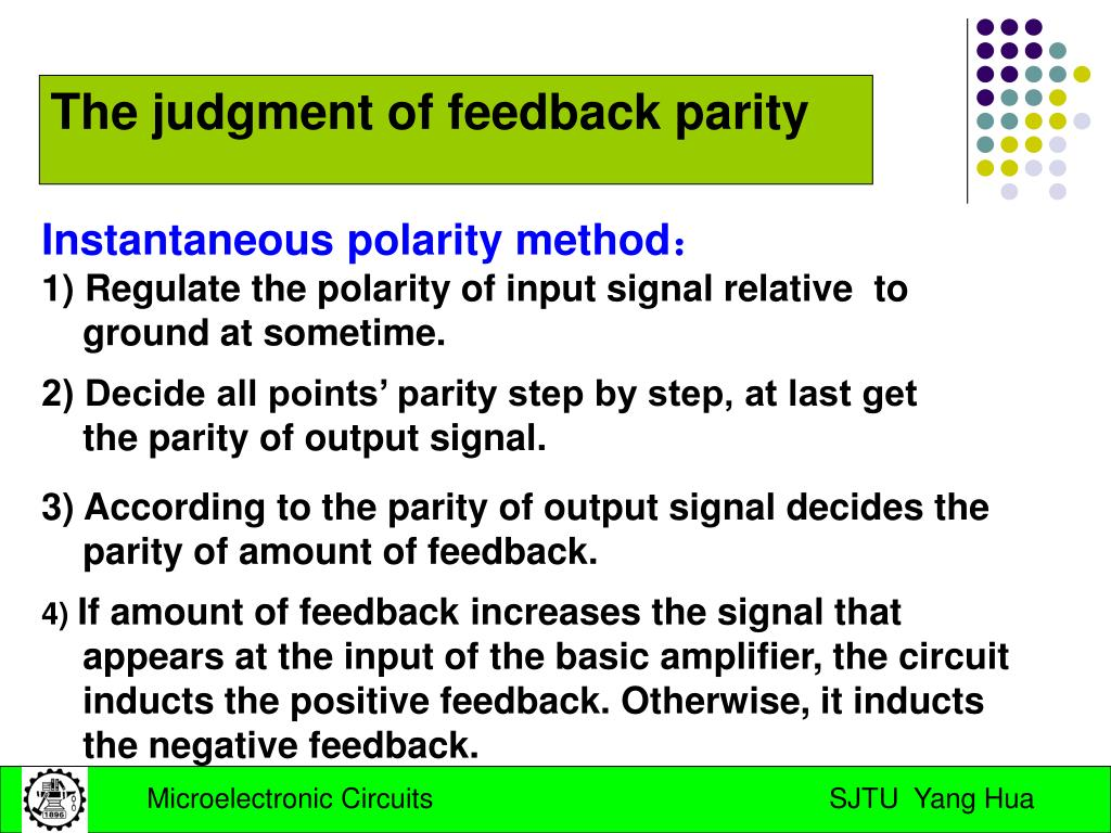 The judgment of feedback parity