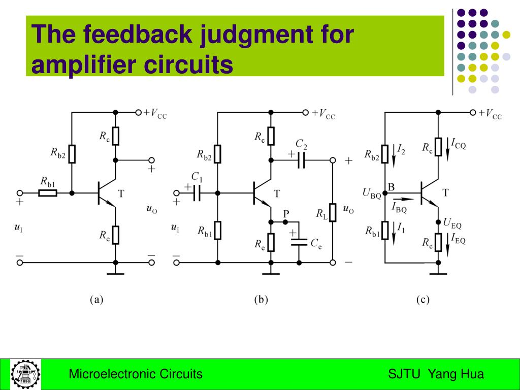The feedback judgment for amplifier circuits