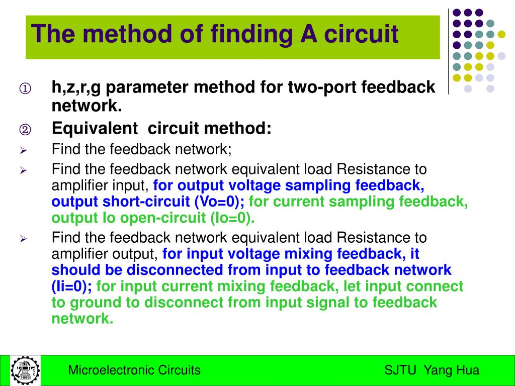 h,z,r,g parameter method for two-port feedback network.