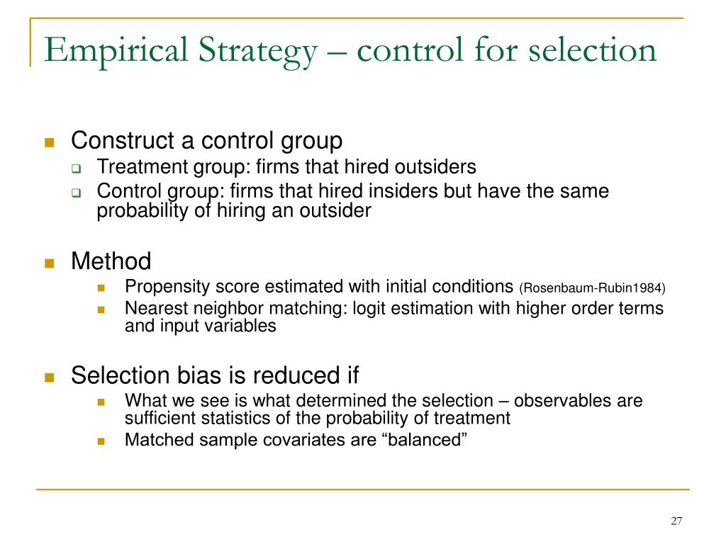 Empirical Strategy – control for selection
