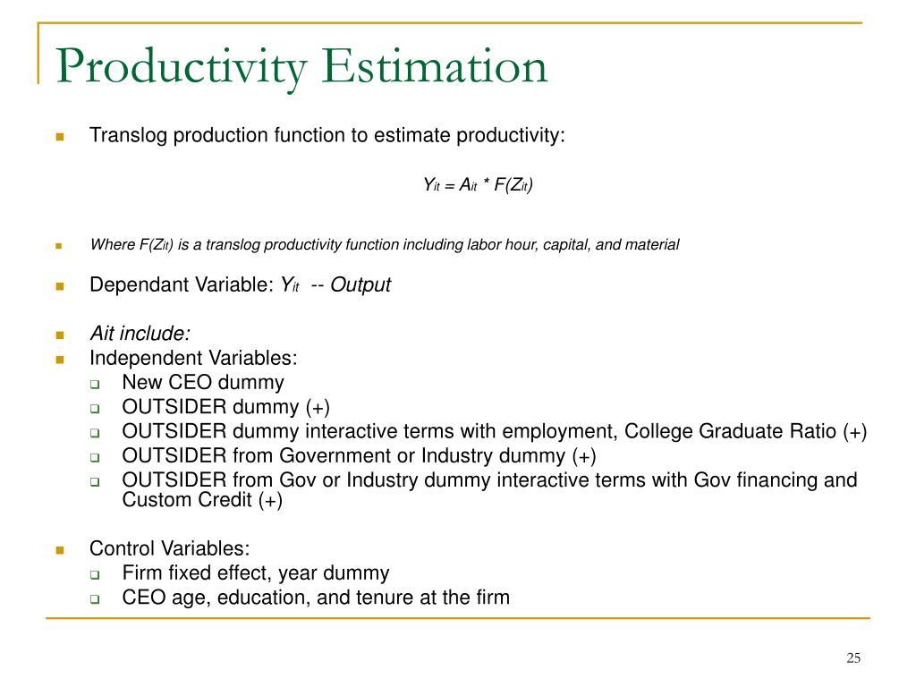 Productivity Estimation