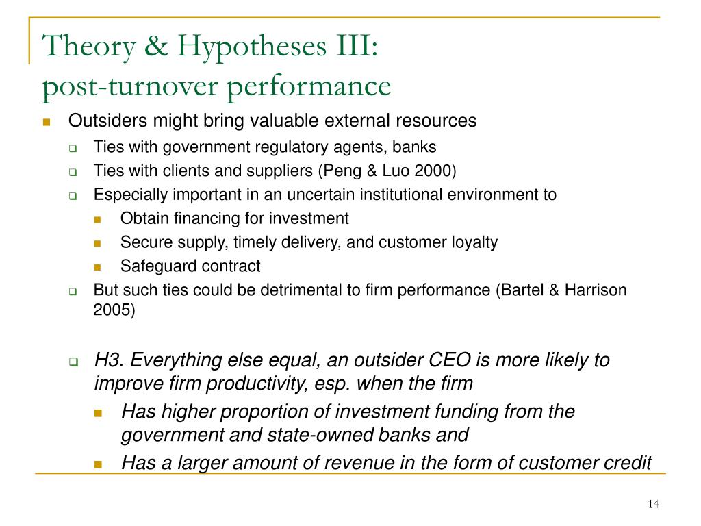 Theory & Hypotheses III: