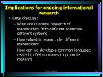 implications for ongoing international research