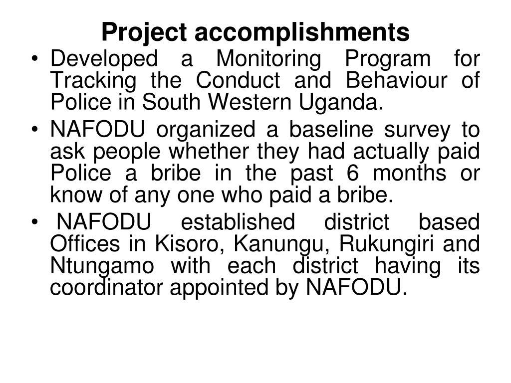 Project accomplishments