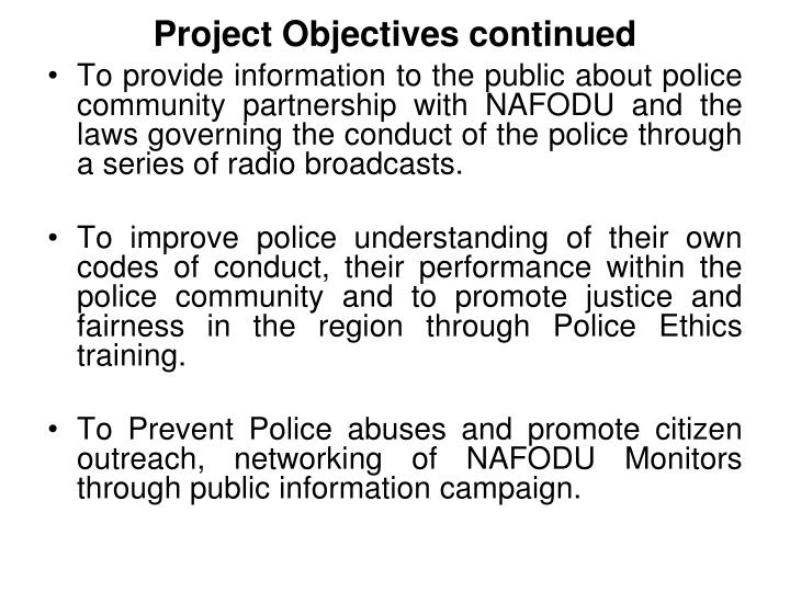 Project objectives continued