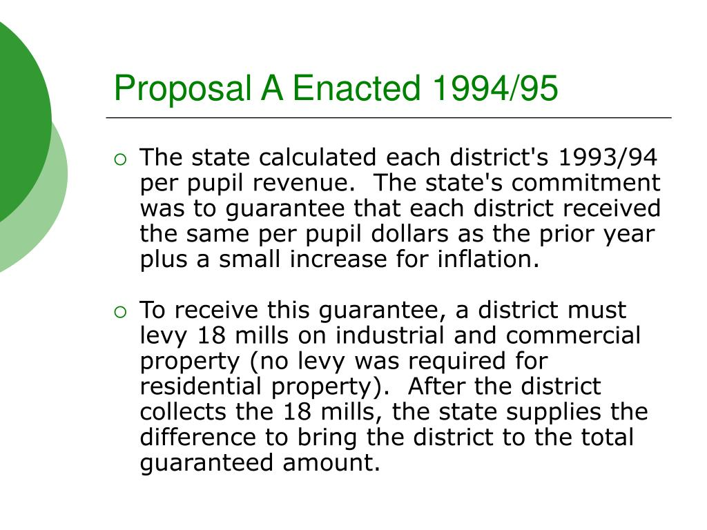 Proposal A Enacted 1994/95
