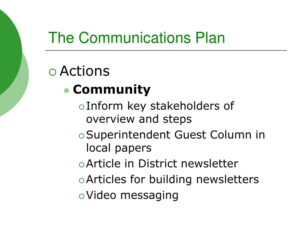 The Communications Plan