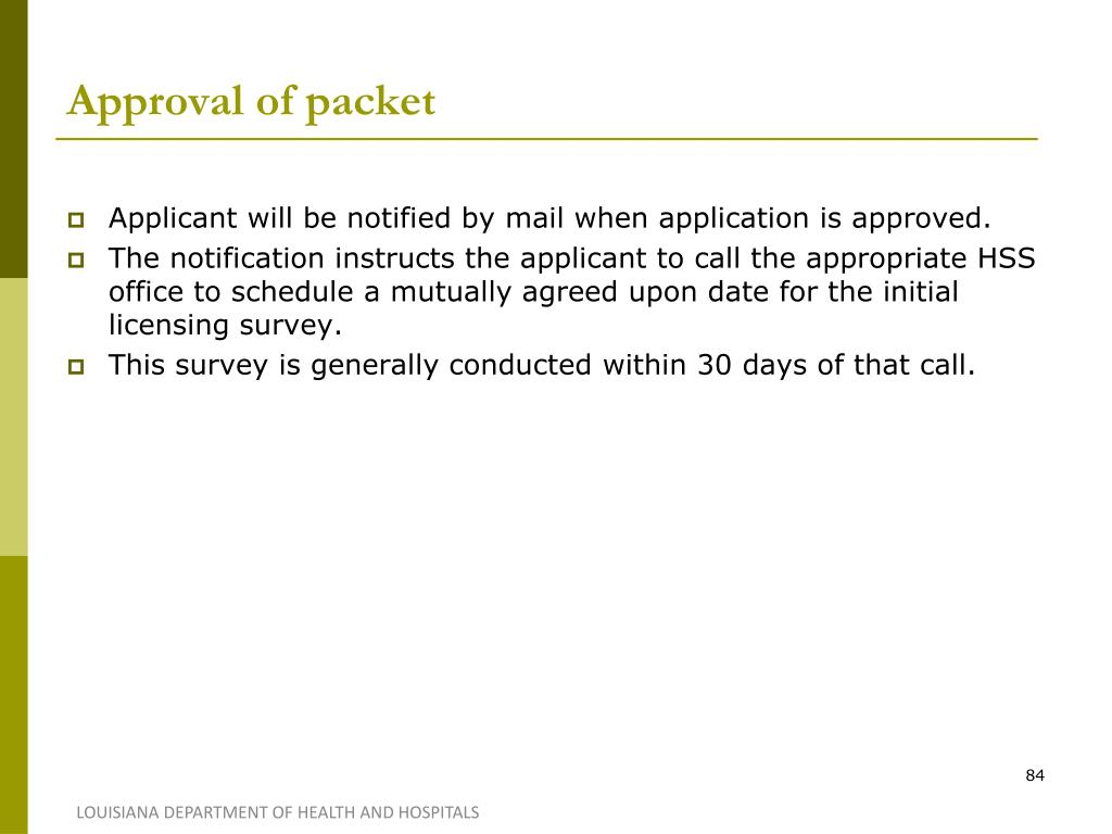 Approval of packet