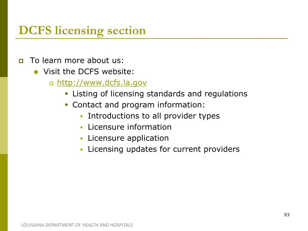 DCFS licensing section