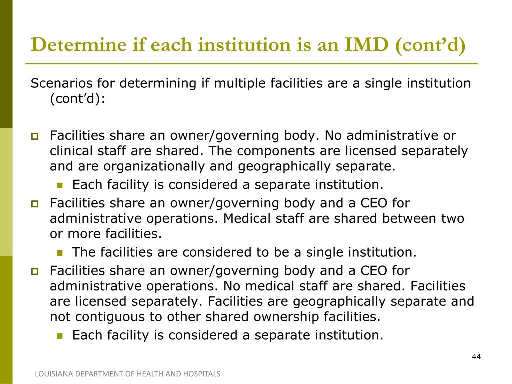 Determine if each institution is an IMD (cont'd)