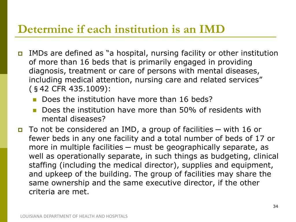 Determine if each institution is an IMD