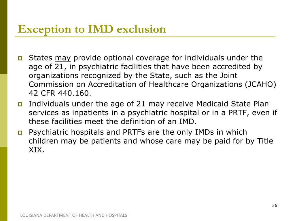 Exception to IMD exclusion