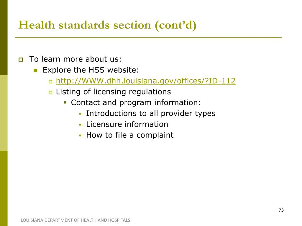 Health standards section (cont'd)