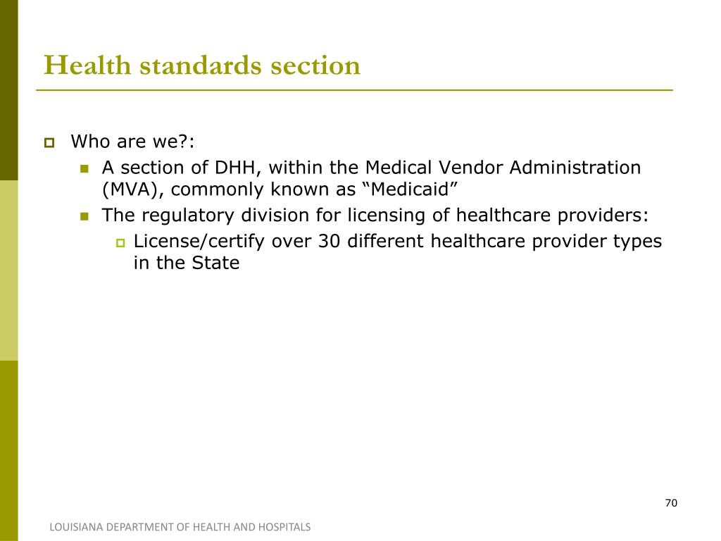 Health standards section