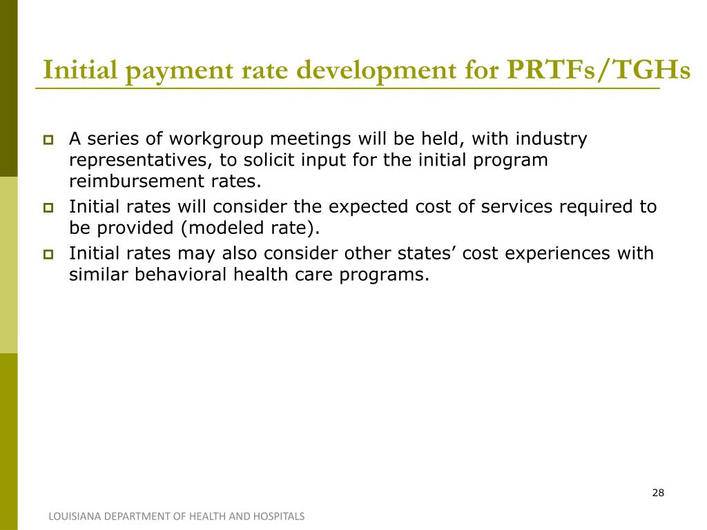 Initial payment rate development for PRTFs/TGHs