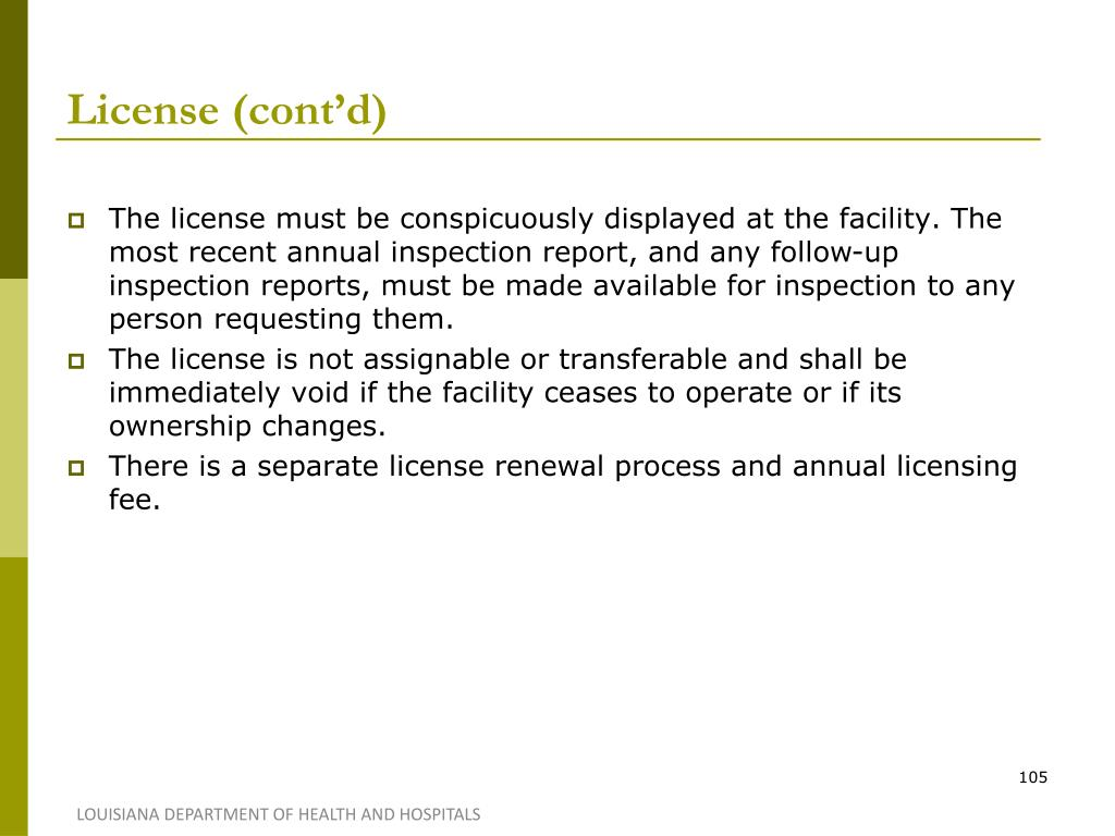 License (cont'd)