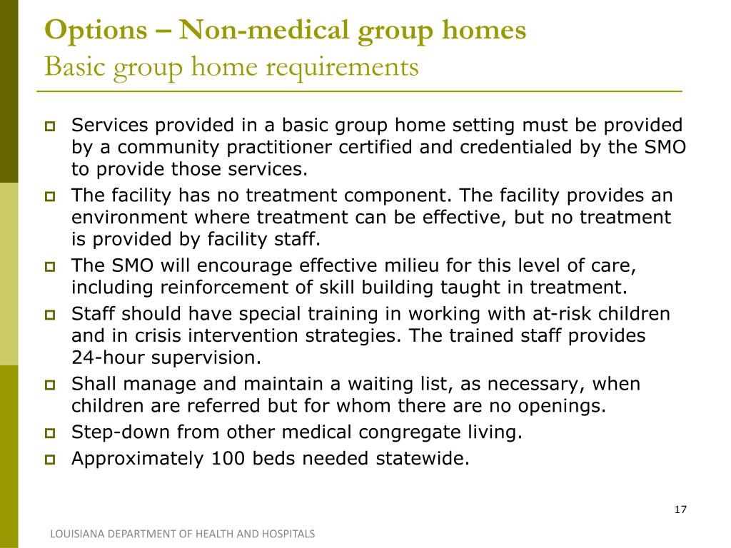 Options – Non-medical group homes