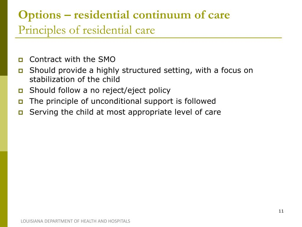 Options – residential continuum of care
