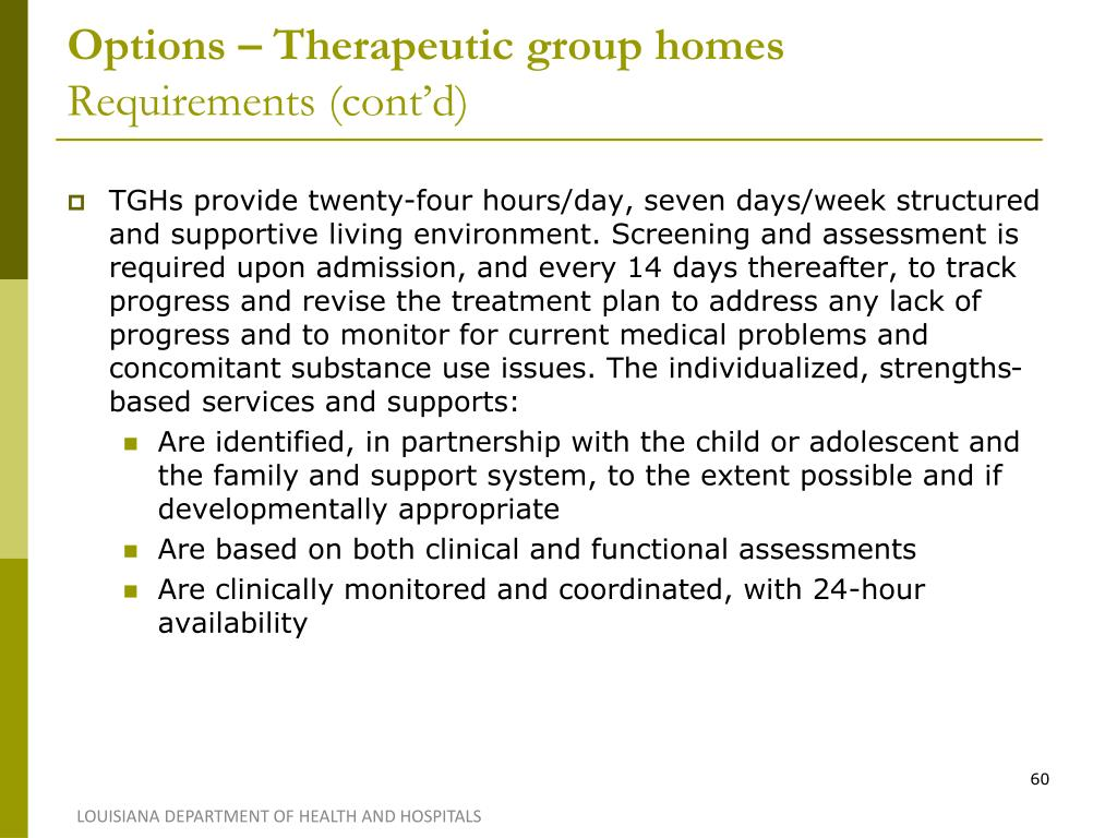 Options – Therapeutic group homes