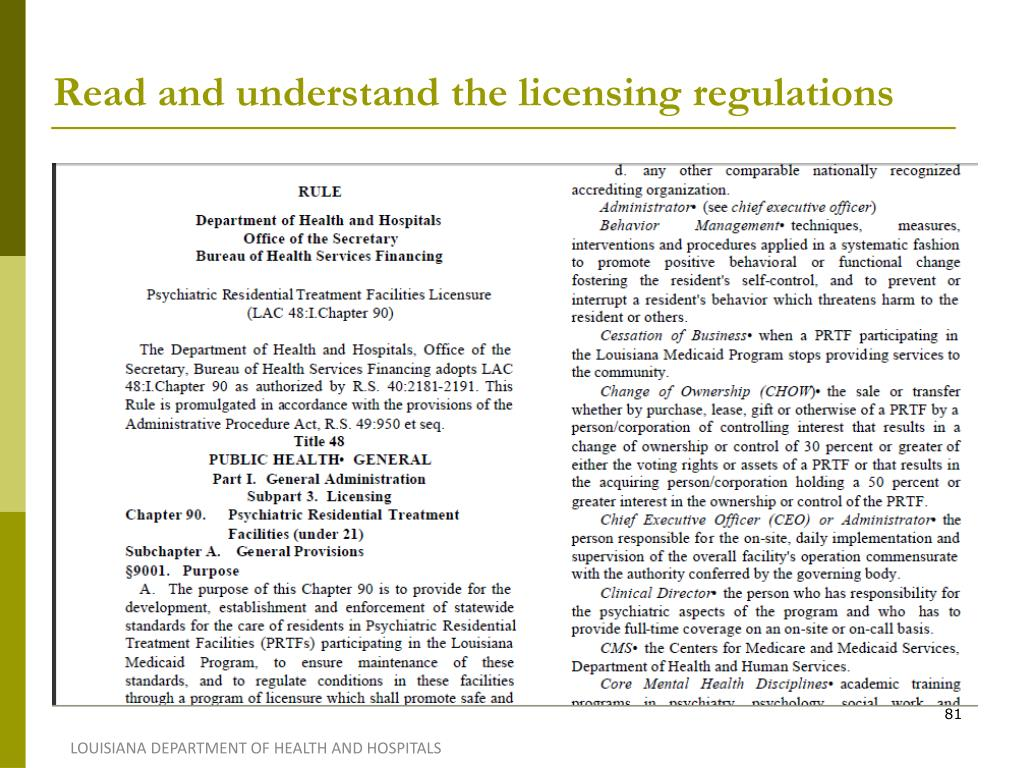 Read and understand the licensing regulations