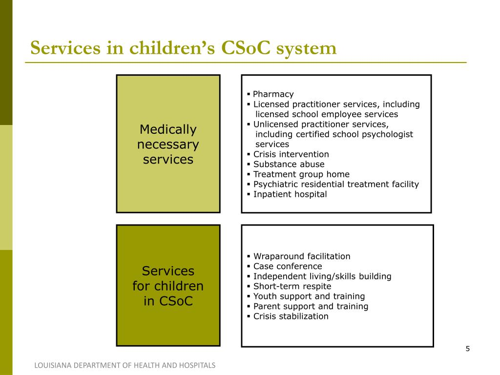 Services in children's CSoC system