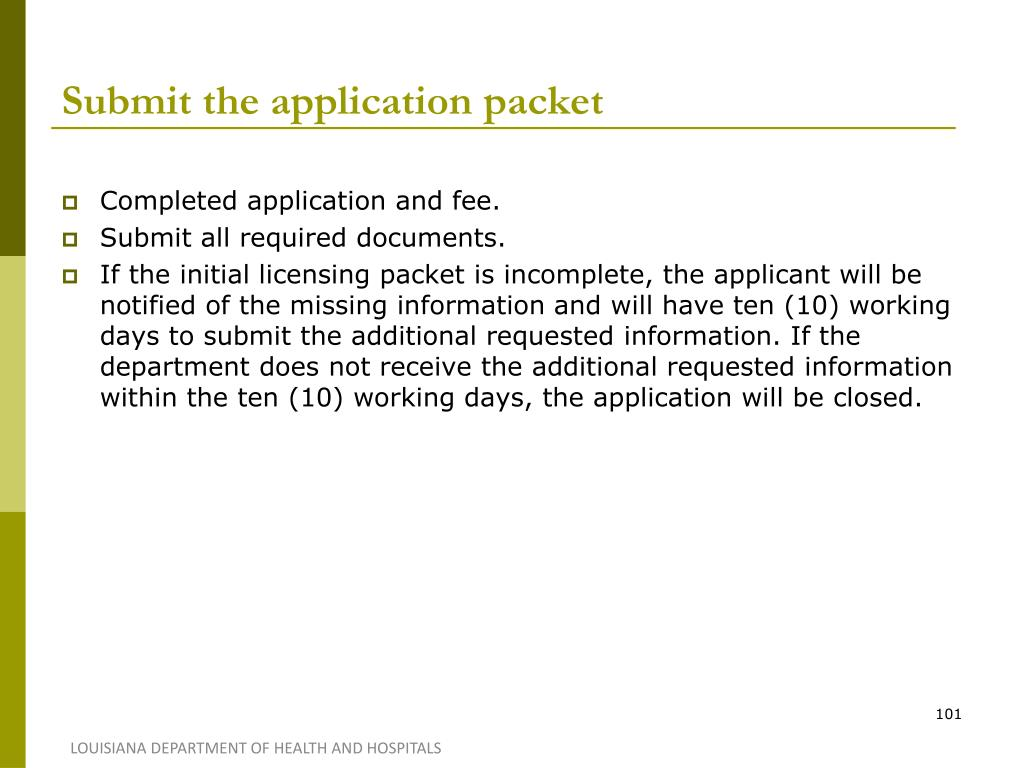 Submit the application packet