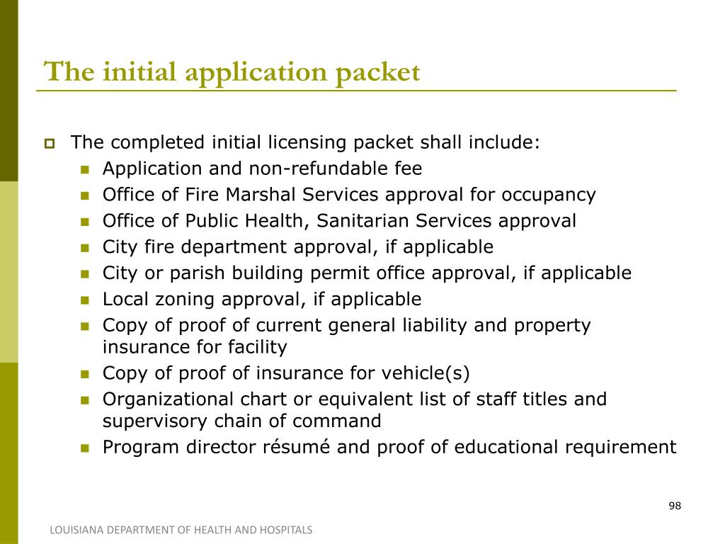 The initial application packet