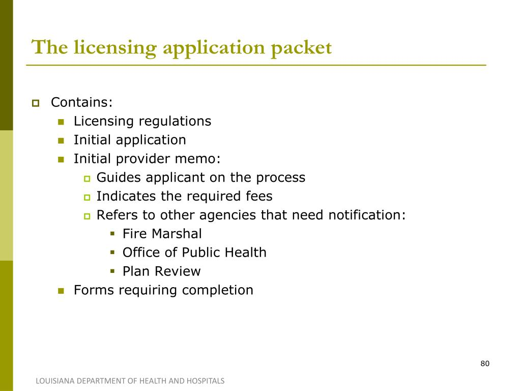 The licensing application packet