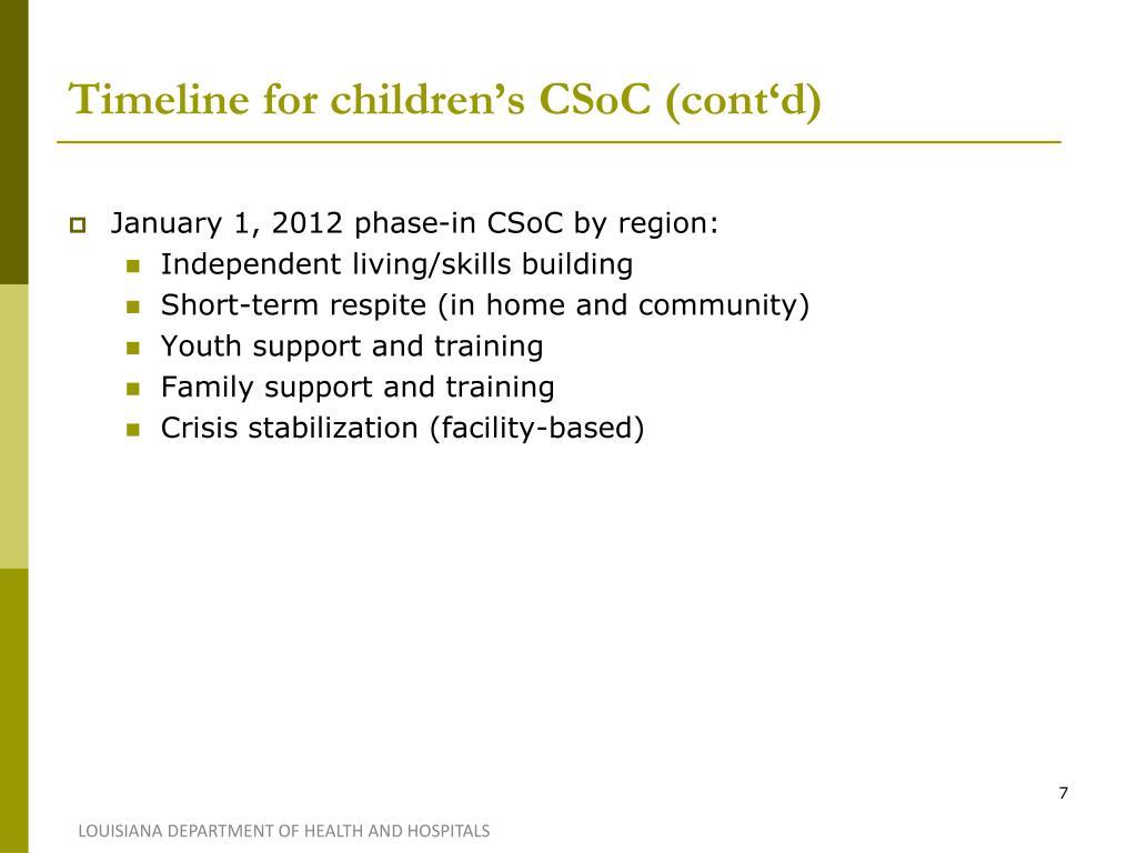 Timeline for children's CSoC (cont'd)