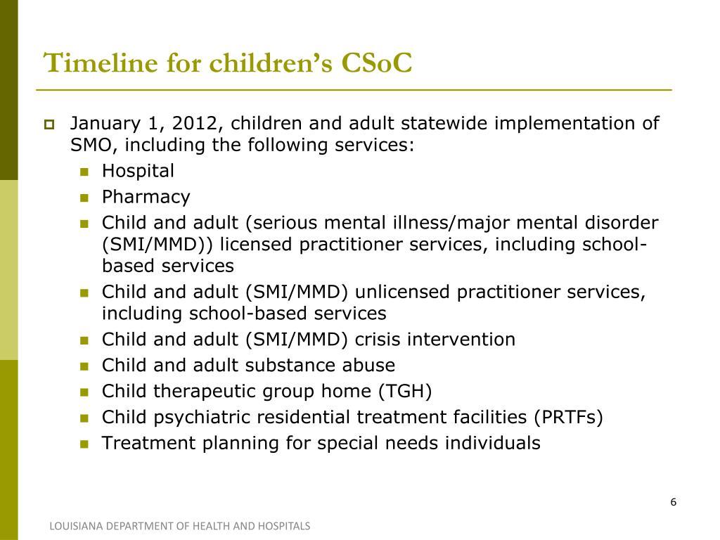 Timeline for children's CSoC