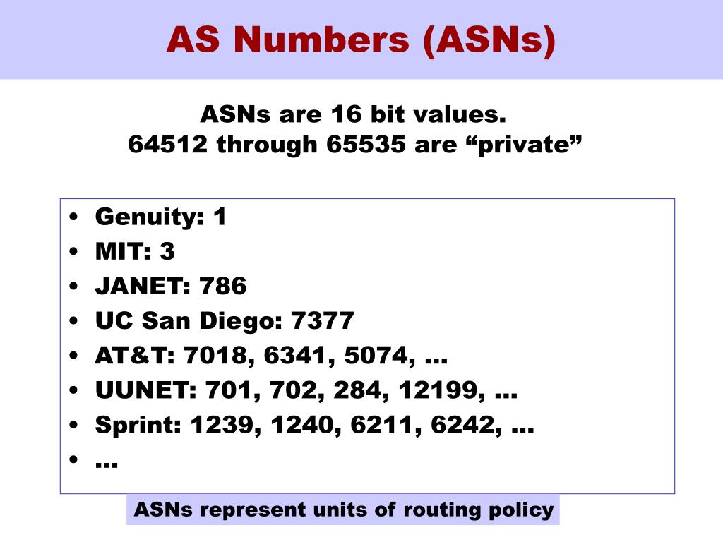AS Numbers (ASNs)