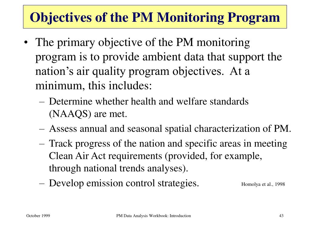 Objectives of the PM Monitoring Program