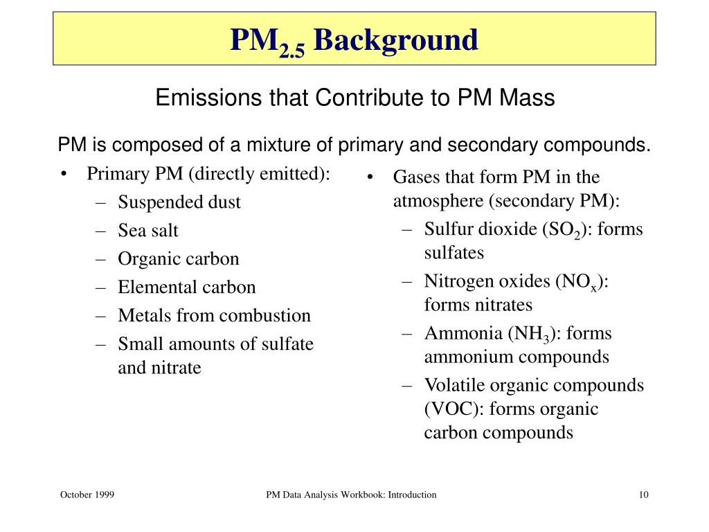 Primary PM (directly emitted):
