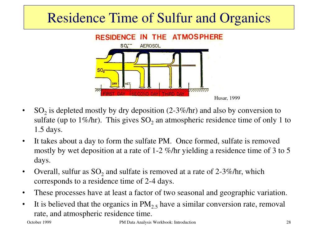 Residence Time of Sulfur and Organics