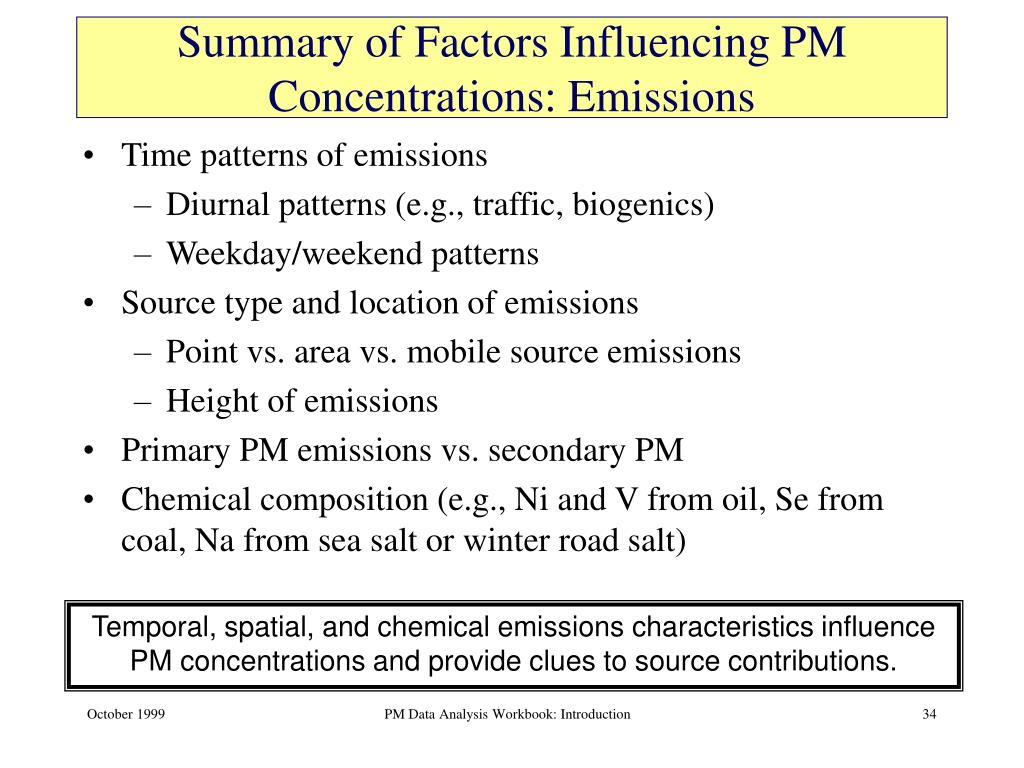Summary of Factors Influencing PM Concentrations: Emissions