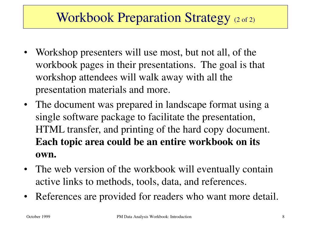 Workbook Preparation Strategy