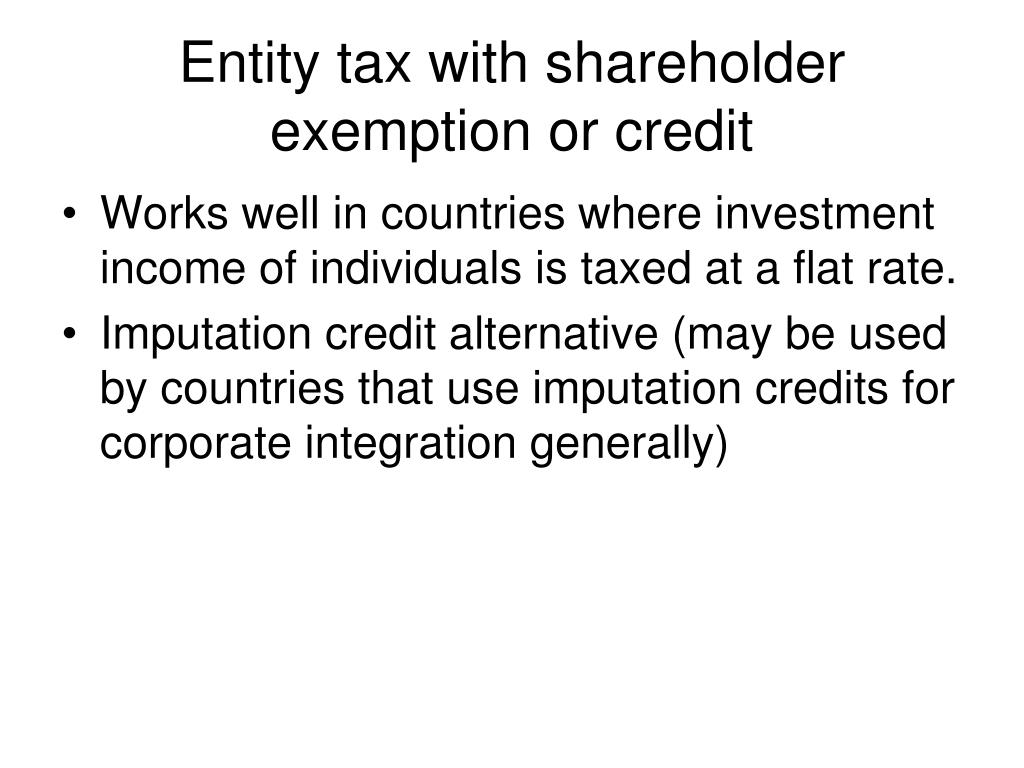 Entity tax with shareholder exemption or credit