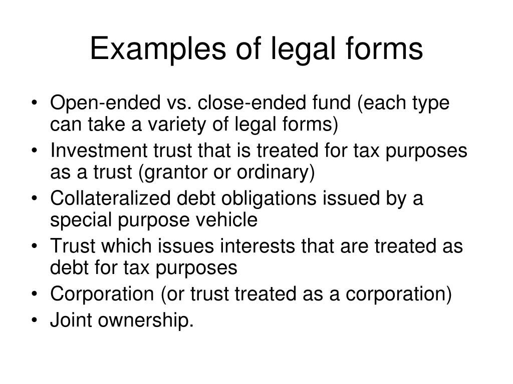 Examples of legal forms