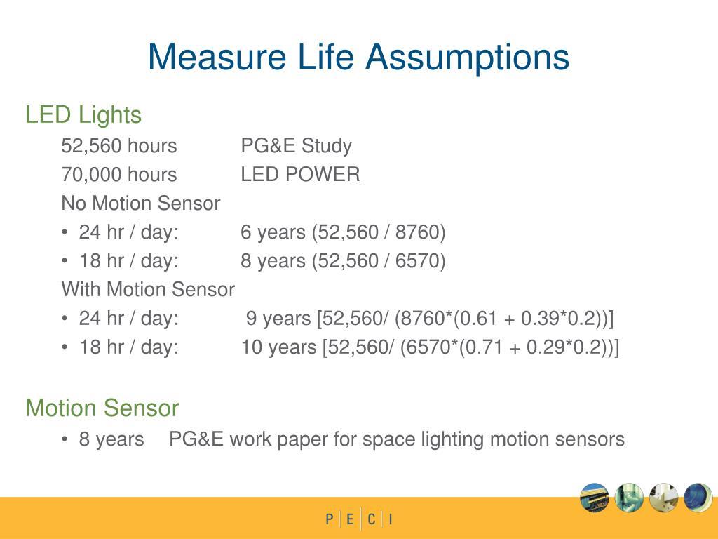 Measure Life Assumptions