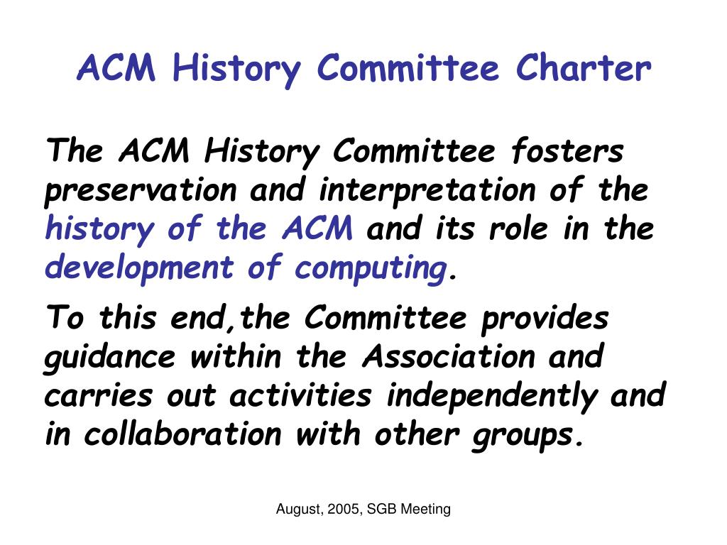 ACM History Committee Charter