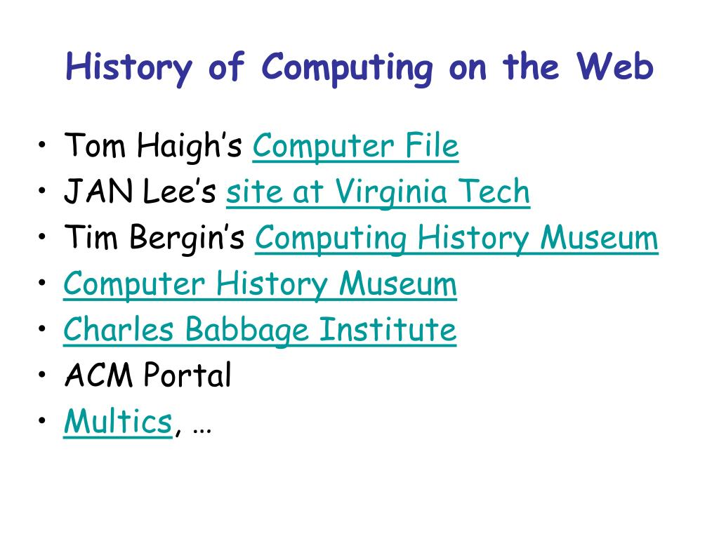 History of Computing on the Web