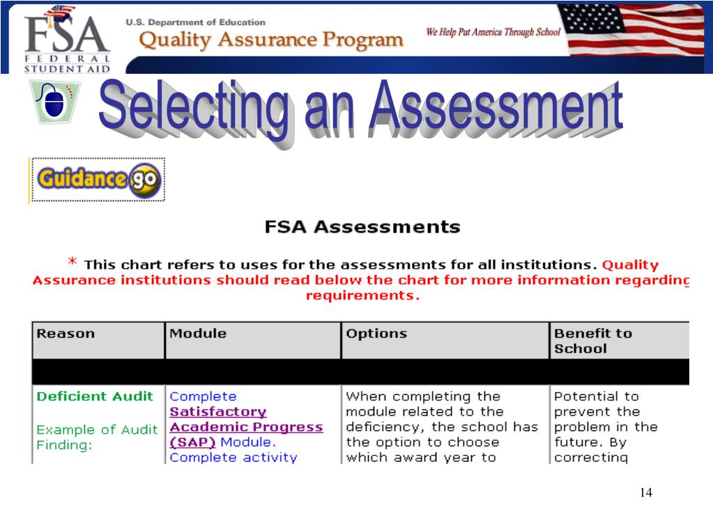 Selecting an Assessment